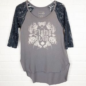 We The Free Flying Wild Lace Raglan Tee Shirt Top